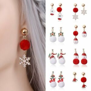 Fashion-Merry-Christmas-Santa-Claus-Crystal-Hairball-Stud-Earrings-Women-039-s-Xmas