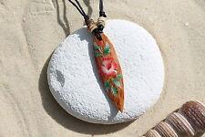 NUOVO in legno retrò Fiore Collana Con Ciondolo Tavola Da Surf Surfer TALISMANO Beach/n243e