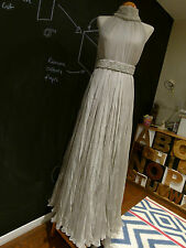 Alexander McQueen grey silk bridal wedding dress evening gown w/ pearl belt