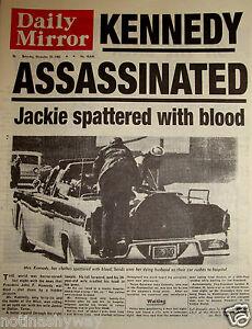 1963-John-F-Kennedy-Assassinated-Shot-Newspaper-Jack-50-Years-Ago-Dr-Who-JFK-USA