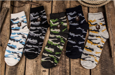 A BATHING BAPE men/'s camouflage socks 5 pairs of boxes for leisure and warmth