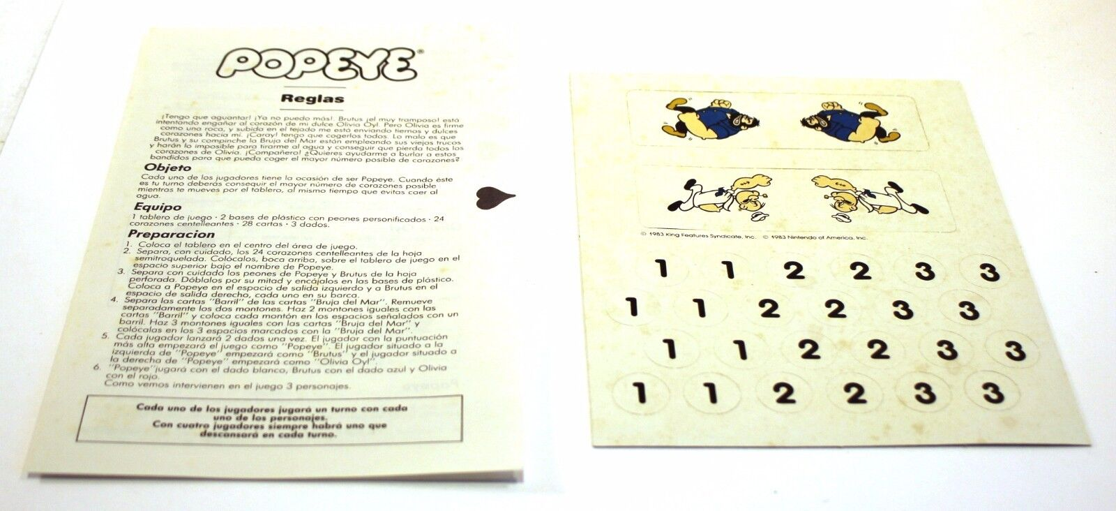 1983 Parker POPEYE ARCADE-BASED tavola gioco nuovo & UNUSED re re re Features Syndicate 562407