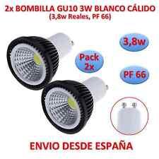 Pack 2x Bombilla Led COB GU10 3,8w (3w) Negro Blanco Cálido Dicroica 220v Negra