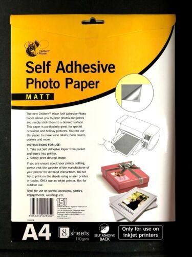 A4 Self Adhesive Matt Photo Paper Sheets For Inkjet Printer 110gsm X 8 SHEETS