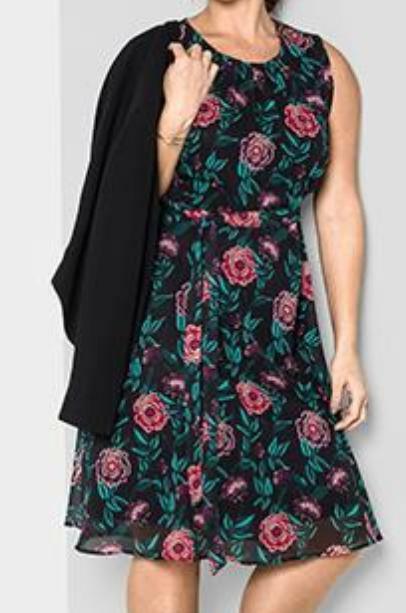 NEU SHEEGO Kleid Sommerkleid Cocktailkleid Blaumen bedruckt schwarz koralle 48 XL