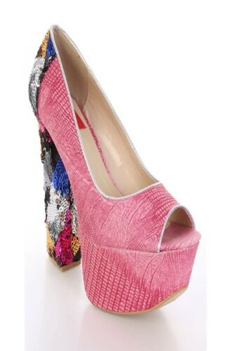 Peep High Lot Faux Leather Fuchsia Shoes Sexy Sequins Toe Textured Black Heels xxYqwaT4