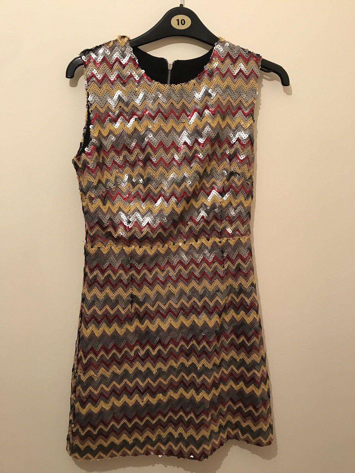 Topshop stunning sequin chevron dress. Size 8 . Designer Jovonna London .