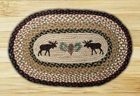 Print Braided Rug - Earth Rugs - 20x30 - Moose And Pinecone - Op-19 -