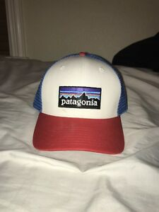 Image is loading Patagonia-Hat-Red-Blue-White-Trucker-Hat-Stranger- df73e7b5e8b