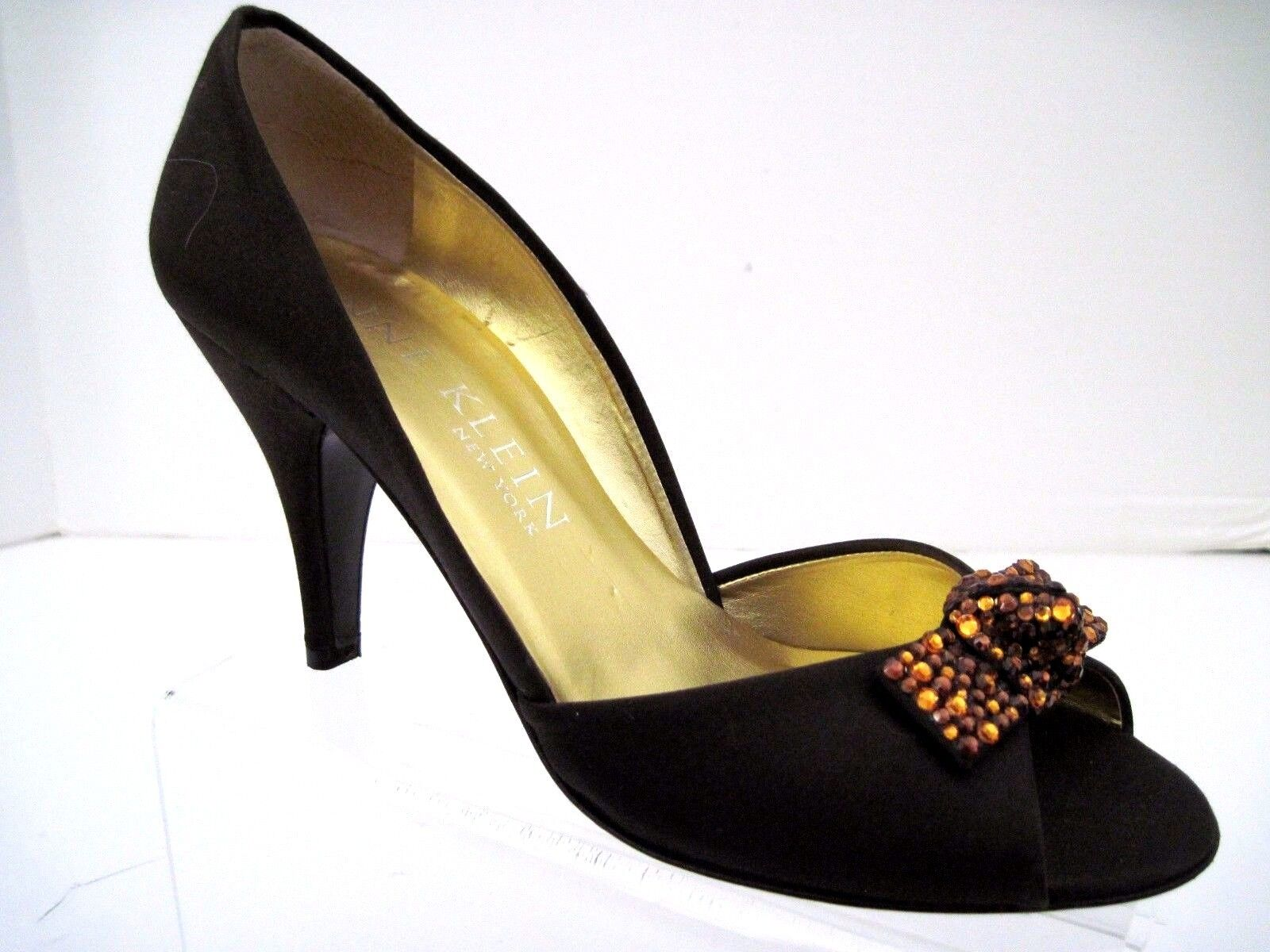 ANNE KLEIN Bronze New York Brown Satin Bronze KLEIN Jewels Open Toe Heels Size 7 1/2 M Italy 12d463