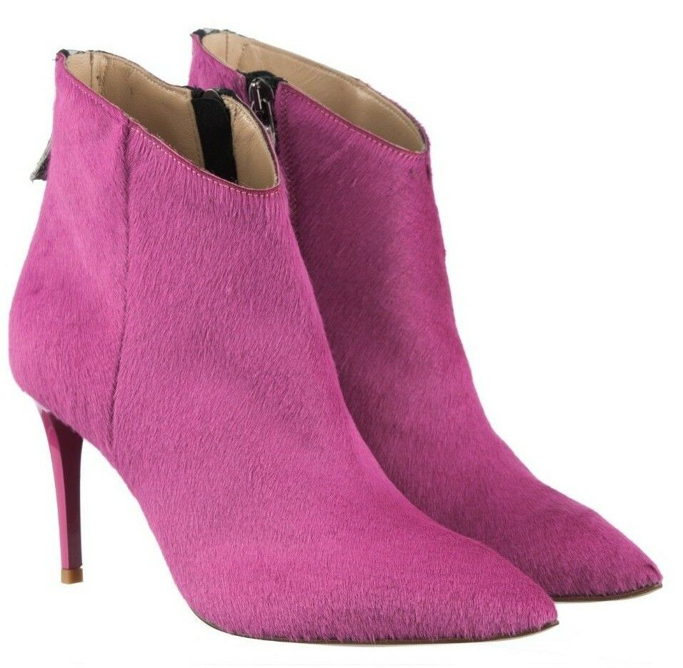 MORI MADE ITALY ANKLE HEEL démarrage bottes bottes chaussures PONY LEATHER FUXIA rose 41