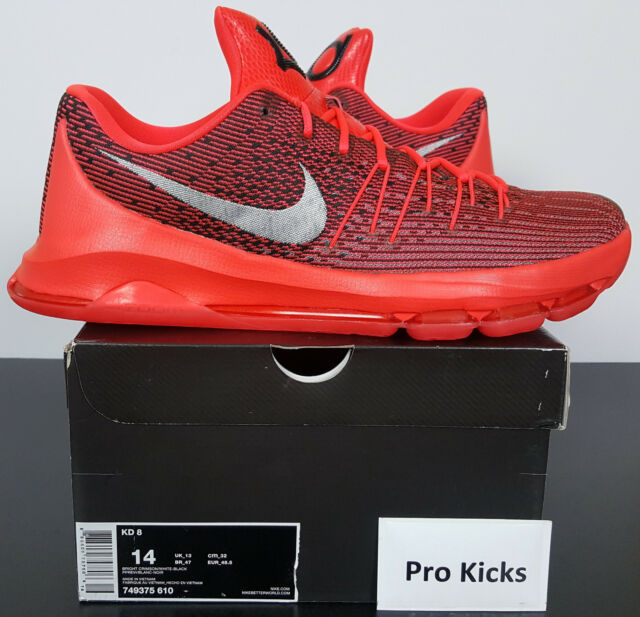 timeless design 3060e bb775 NIKE KD 8 BASKETBALL SHOES KEVIN DURANT BRIGHT CRIMSON RED 749375-610 (SIZE  14