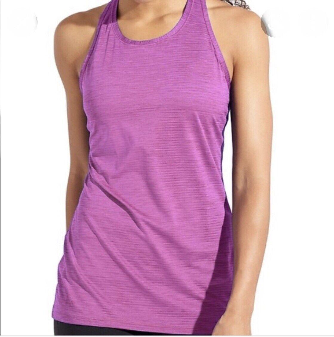 Athleta Hoher Kragen Chi Tank Schatten Streifen KLEIN S Pink Top Hemd