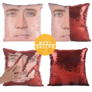 Nicolas Cage Mermaid Pillow Funny Pillow Christmas Nicolas Cage Pillow Sequin