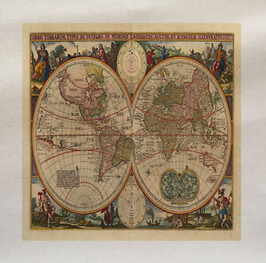 Vintage world map printed fabric panel make a cushion upholstery image is loading vintage world map printed fabric panel make a gumiabroncs Gallery