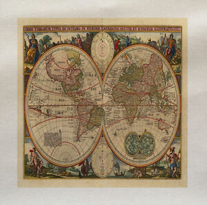 Vintage world map printed fabric panel make a cushion upholstery image is loading vintage world map printed fabric panel make a gumiabroncs Images