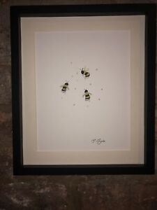 Threes Bumble Bees Original Watercolour Painting, Signed Art Not A Print, Gift
