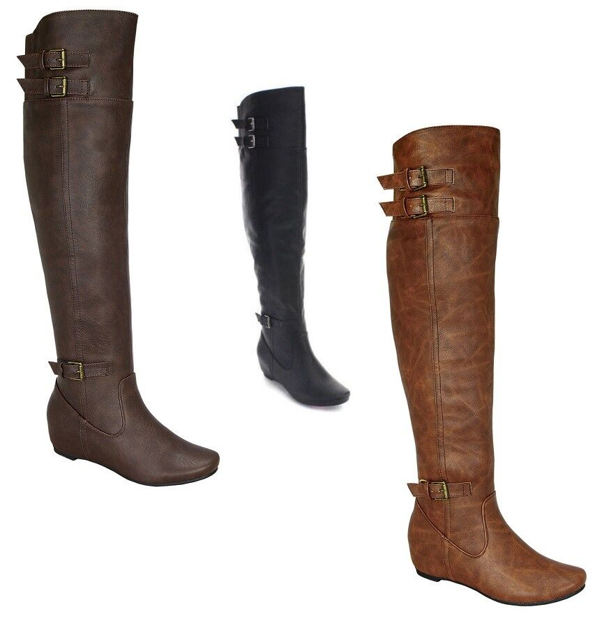 De Blossom Collection Women Buckle Elastic Over Knee High Riding Boots AMAR-53A