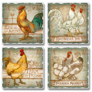 Mixed-Absorbent-Stone-Coasters-Set-of-4-Americana-Old-Rooster-Inn-Rise-amp-Shine