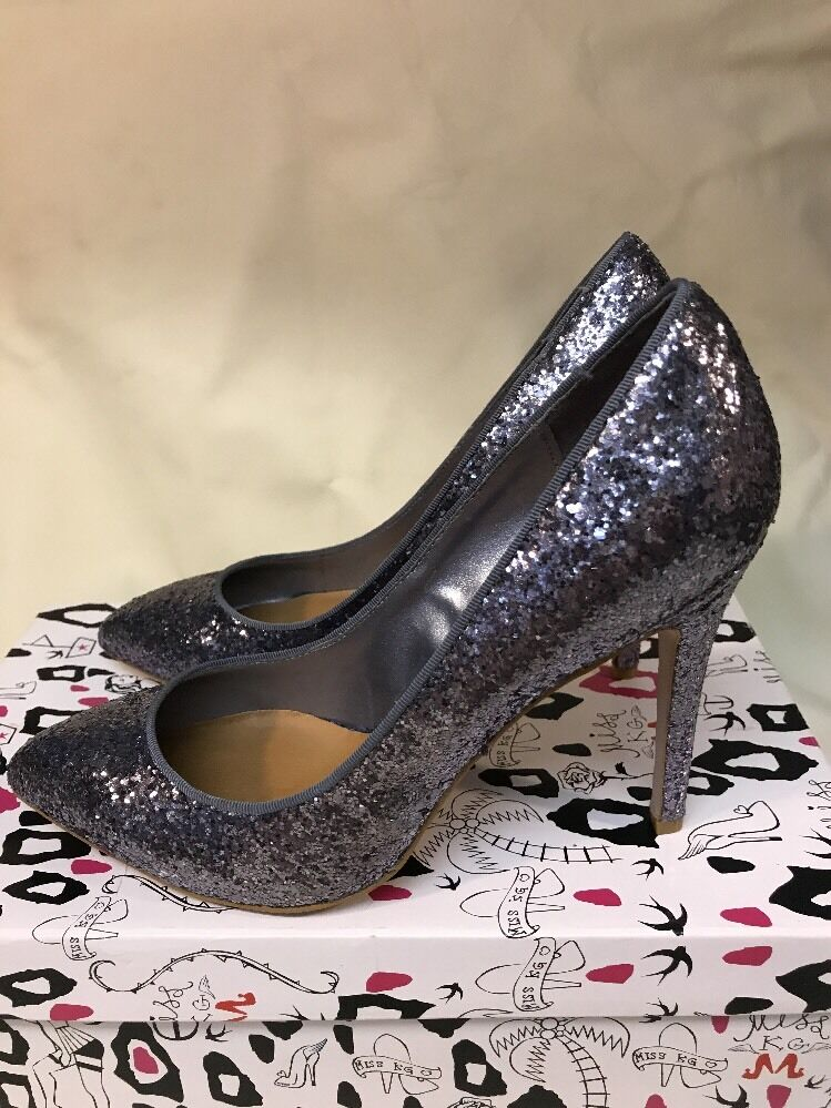 KURT GEIGER miss kg DANCER Silber glitter sparkle party new year heels uk4 EU 37
