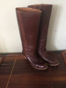 Details about Frye Size 7.5 B Sabrina 14L Brown Leather Boots Made in the USA