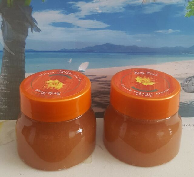 bath and body works salted caramel apricot pure honey body scrub