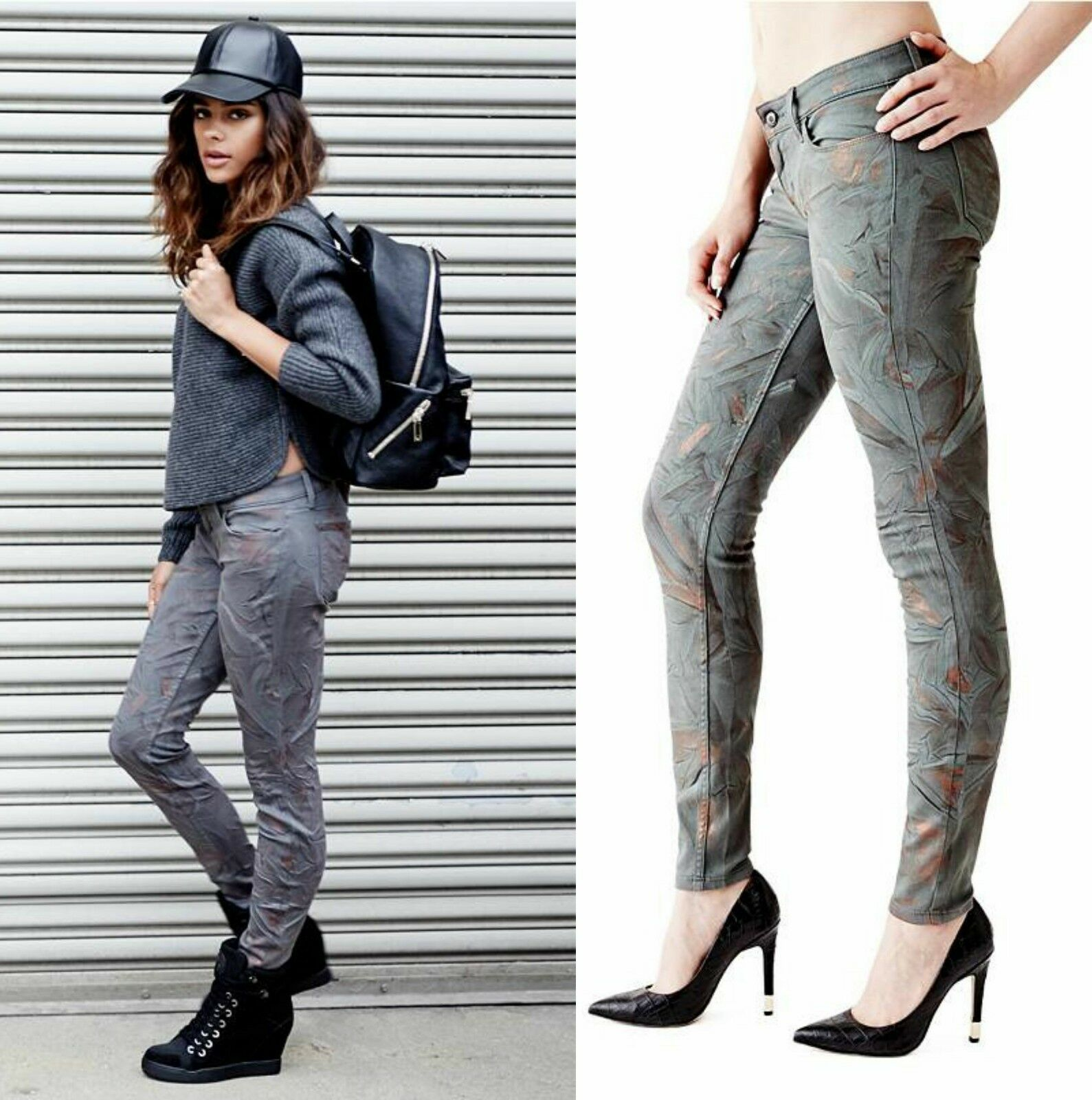 GUESS LOW-RISE POWER SKINNY JEANS IN COSMO BLOOM WASH