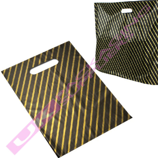 "NEW SMALL BLACK + GOLD PLASTIC CARRIER BAGS 9 x 11"" *MULTI ITEM LISTING*"