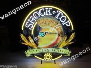 Rare-New-SHOCK-TOP-BELGIUM-WHITE-Beer-Bar-Real-Neon-Light-Sign-Free-Ship