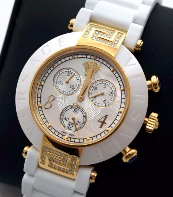 f43b12ec4 NEW Versace 92CCP11D497S001 Womens Reve IP YellowGold Ceramic White Chrono  Watch
