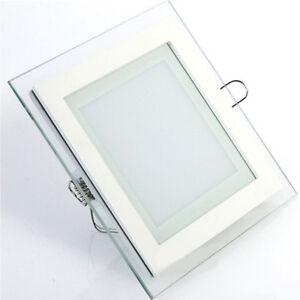 6W-12W-18W-LED-Glas-Panel-Unterputz-Einbaustrahler-Warmweiss-Neutralweiss-Eckig