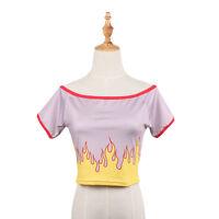 Novelty Flame Printed Women Girl Crop Top Sexy Short Sleeve T-shirt Tank Top