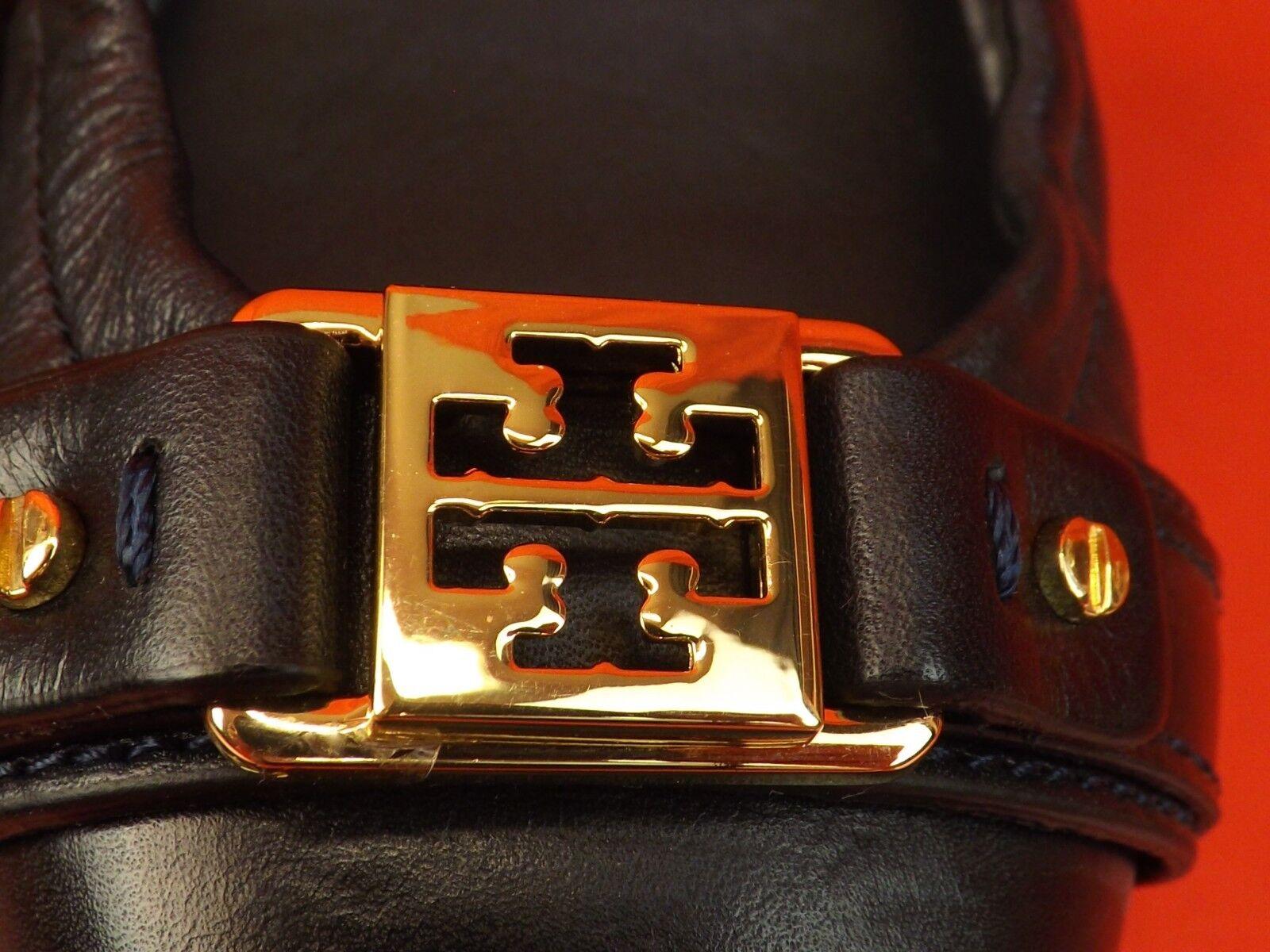 NIB TORY BURCH BURCH BURCH NAVY LEATHER AMBpink gold REVA CAP TOE BALLET FLATS 8 0f2a5c