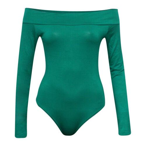 Womens Ladies Long /& Sleeveless Off Shoulder Top Bodysuit Leotard Plus Size 8-22