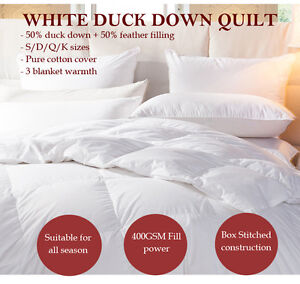 Image Is Loading 50 White Duck Down Quilt Doona All Season