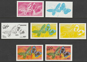 Oman - Dhufar4760 - 1977 BUTTERFLIES 30b set of 7 PROGRESSIVE COLOUR PROOFS u/m