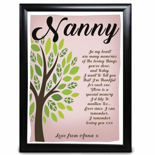 Cadeau personnalisé Arbre Poème Nan Nanny Nana sur la Fête des Mères Anniversaire merci