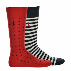 POLO-RALPH-LAUREN-Men-039-s-Socks-2er-Pack-One-Size-Stripes-amp-Dots