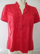 LINEA Classic Pin Tuck Detail Real Silk Red Short Sleeve Blouse Shirt Top 12