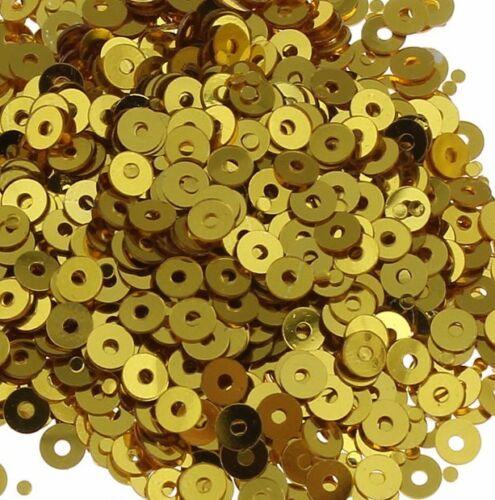 2400 Pailletten 3mm Gold Rund Glatt Perlen Basteln Nähen Dekoration BEST PAI31