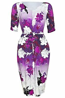 Marks /& Spencer Twiggy Purple /& White Floral V Neck Short Sleeve Lined M/&S Dress