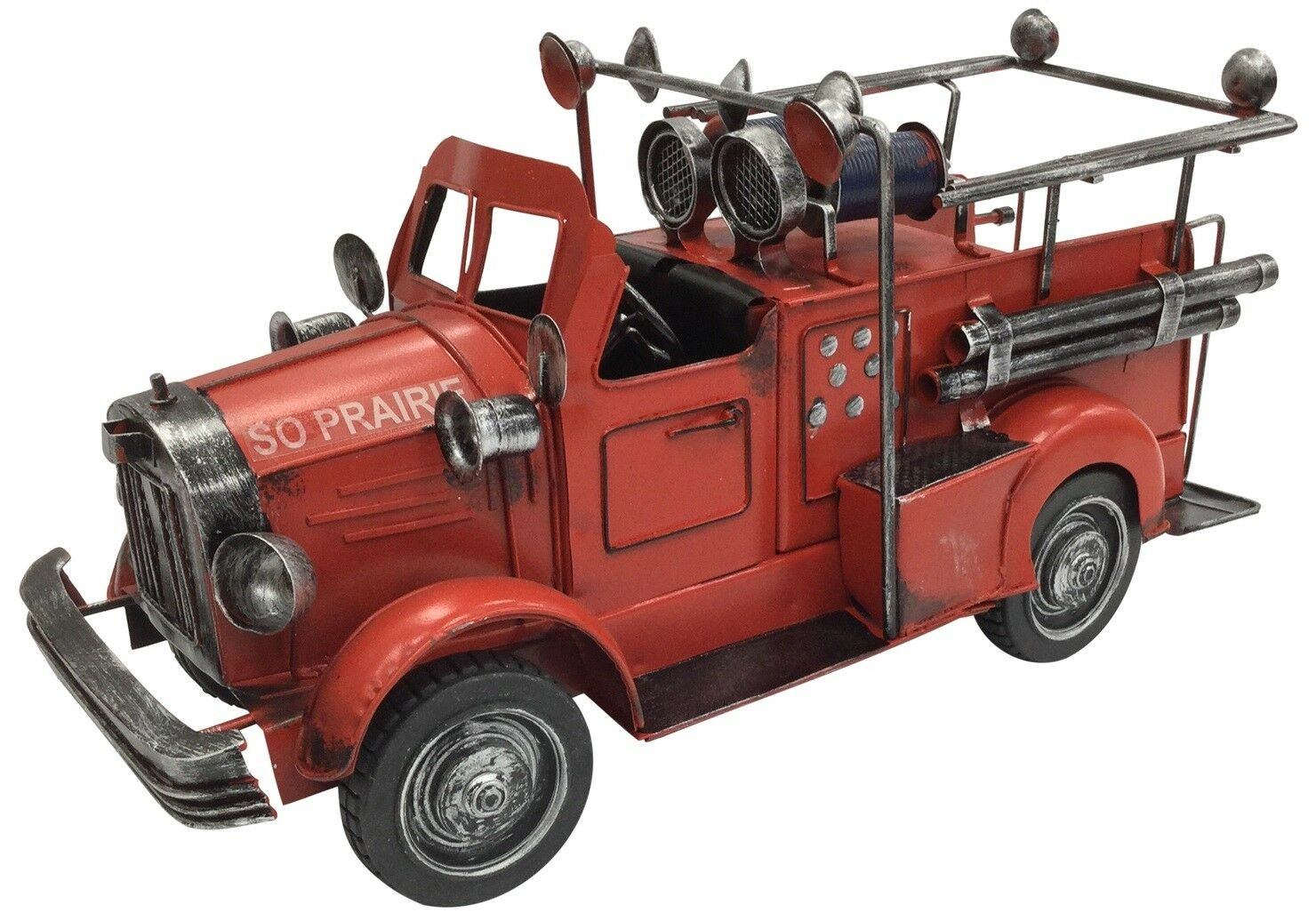 Vintage Classic Large Red Fire Engine Tin Metal 34cm Length Collectible