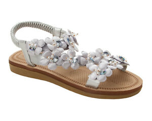 8d6328b0a1b307 WOMENS SILVER FLOWER GEM SUMMER BEACH EVENING FLAT SANDALS LADIES UK ...
