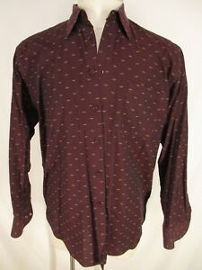 St-Croix-Mens-Red-Long-Sleeve-Cotton-Shirt-L-Italy-Made