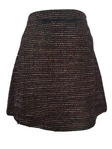 Nutmeg-Multi-Boucle-Tweed-A-Line-Mini-Skirt-Wool-Blend-Faux-Leather-Trim-Size-14