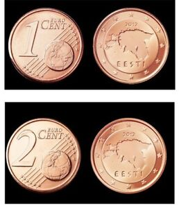 Estonie 2012: 1 et 2 centimes 2012: neuves