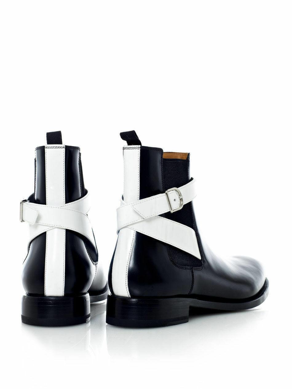 Zapatos De Vestir botas para Hombre Chelsea Cuero Negro con Cinturón Hecho a Mano Ropa Formal Casual