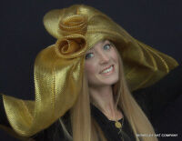 Womens Kentucky Derby Hat Gold & Silver Metallic Giant Wide Brim Mothers Day