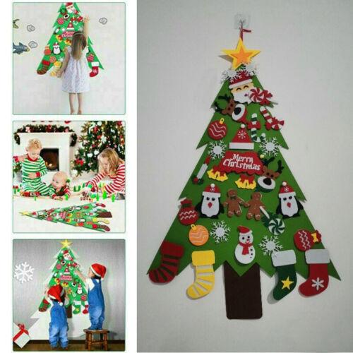 2020 Kids DIY Felt Christmas Tree Stick Ornaments Wall Hanging Decor Xmas Gift