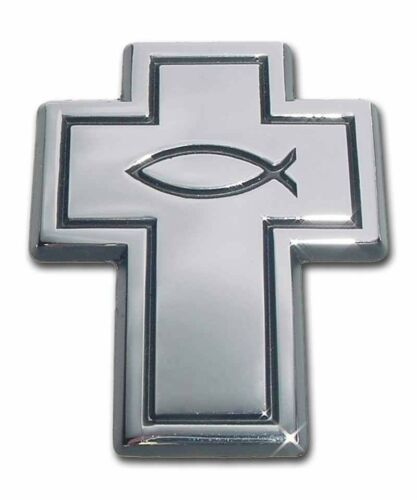 NEW Chrome Cross with Fish Car Auto Truck Emblem High Quality Made in the USA!